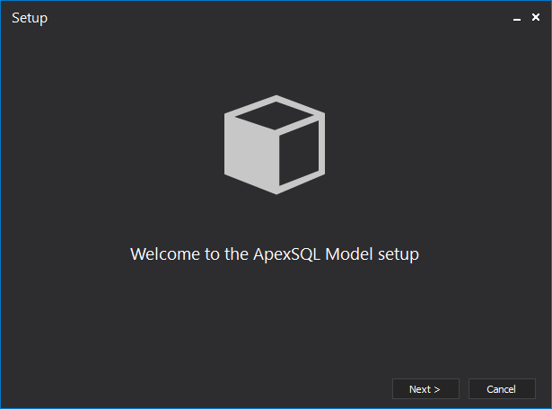 Installation wizard for the ApexSQL Model