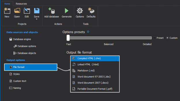 The MySQL database documentation tool support five output file formats