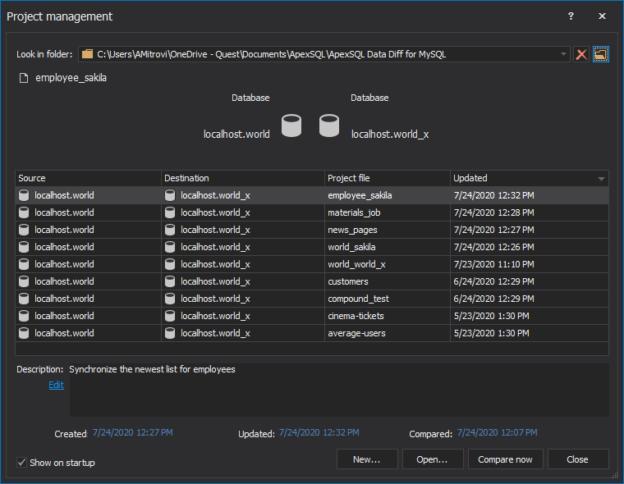 ApexSQL Data Diff for MySQL - Project management window